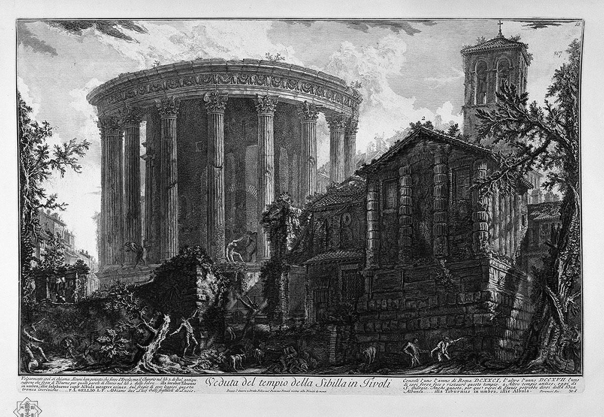 Temple of Vesta at Tivoli - ruin. Illustration by Piranesi