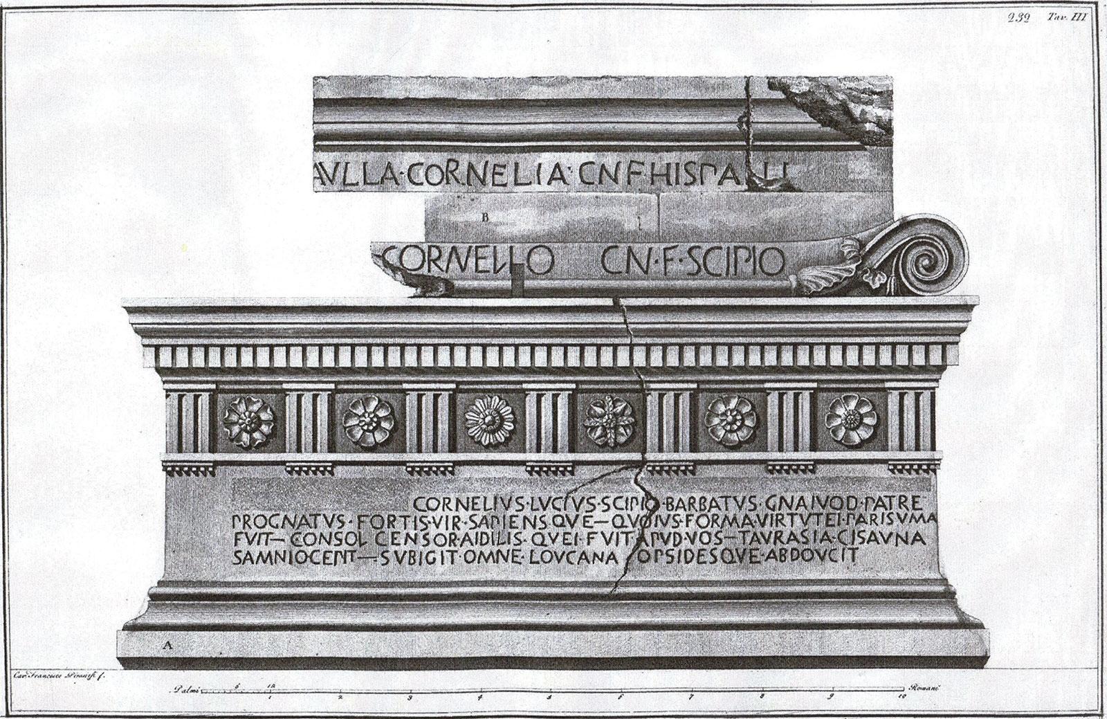 Engraving of the Scipio Barbatus sarcophagus by Piranesi
